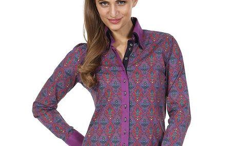 Dámská vzorovaná košile fialové barvy Pontto