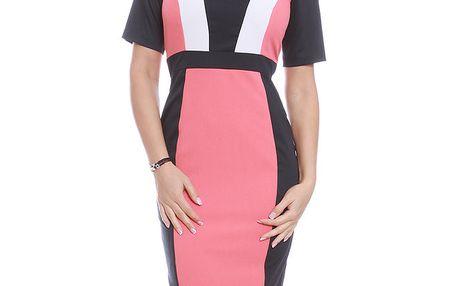 Dámské růžovo-černo-bílé šaty s krátkým rukávem Oriana