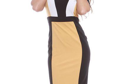 Dámské žluto-černo-bílé šaty s krátkým rukávem Oriana