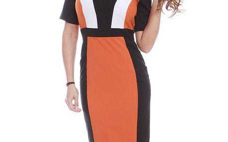 Dámské oranžovo-černo-bílé šaty s krátkým rukávem Oriana