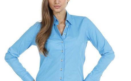 Dámská modrá slim fit košile se vzorovanými manžetami Pontto