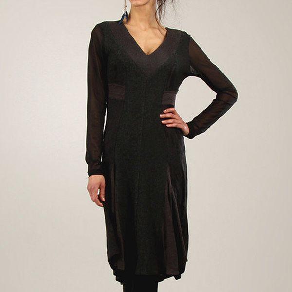 Dámské tmavé šaty s véčkovým výstřihem Angels Never Die