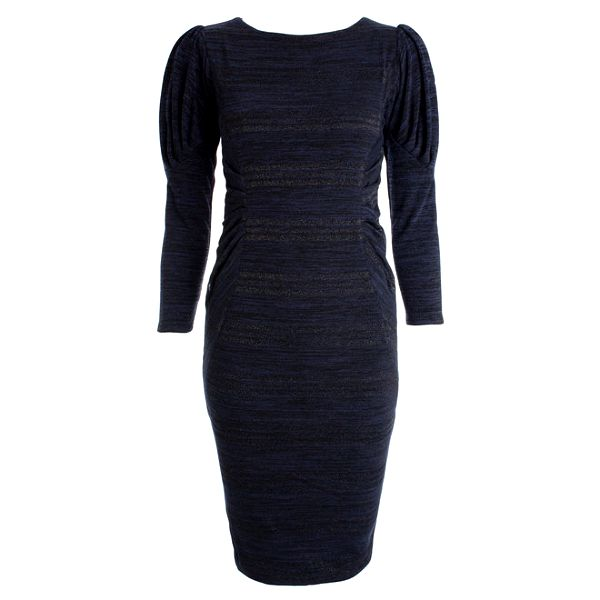 Dámské tmavě modré šaty s nabíranými rukávy JDC London