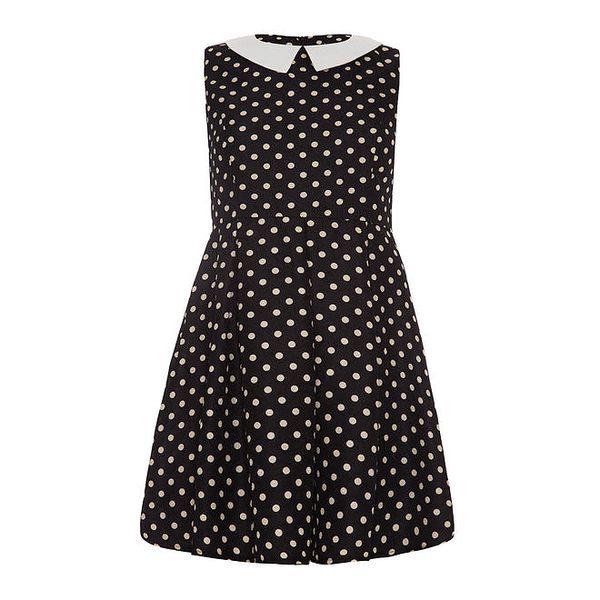 Dámské černé šaty s puntíky Iska