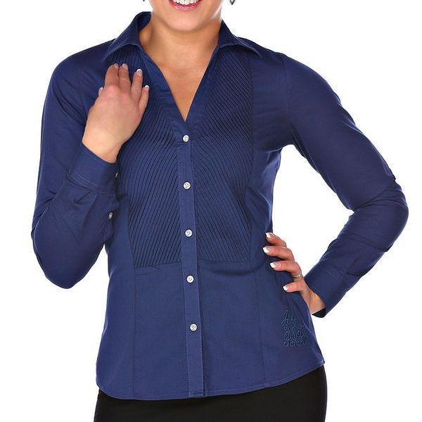 Dámská tmavě modrá košile s plisováním M. Conte