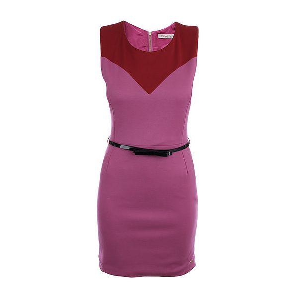Dámské růžové šaty s černým lesklým páskem Phard