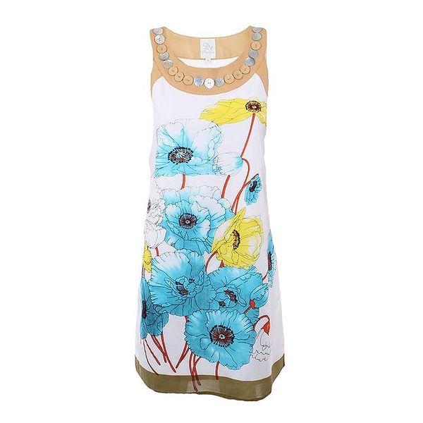 Dámské bílé šaty s barevným květinovým potiskem Dislay DY Design