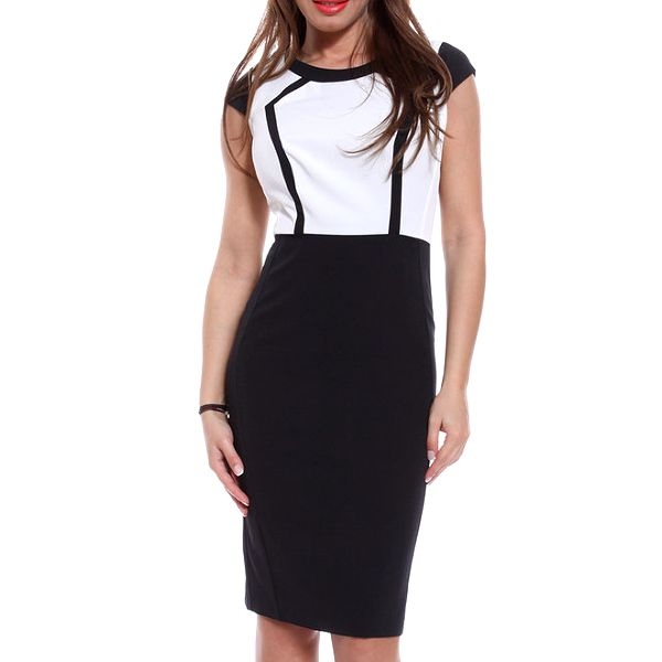 Dámské černo-bílé pouzdrové šaty Melli London