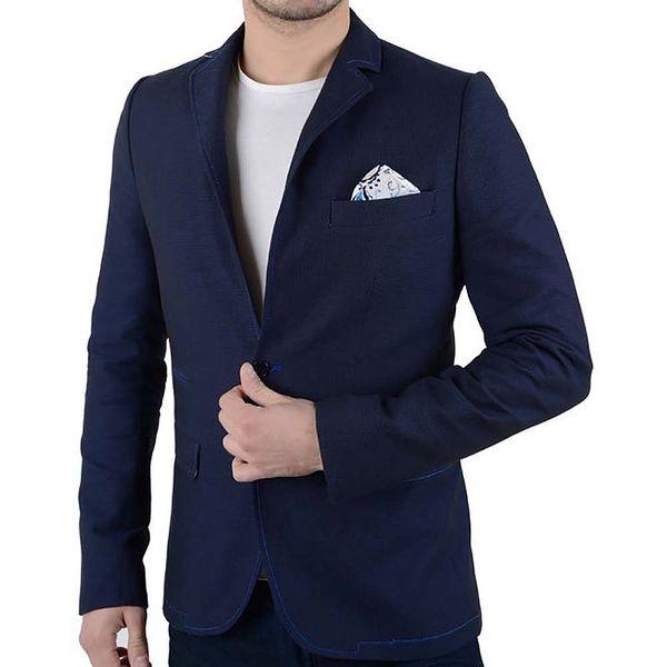 Pánské tmavě modré sako s kapsičkou RNT23