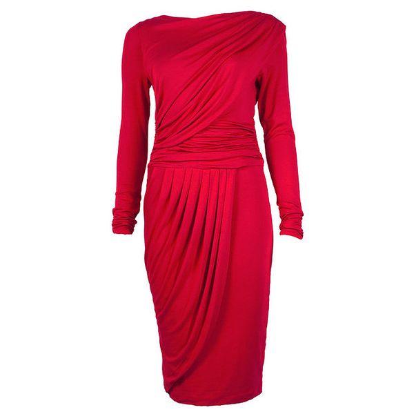 Dámské červené šaty s dlouhými rukávy CeMe London