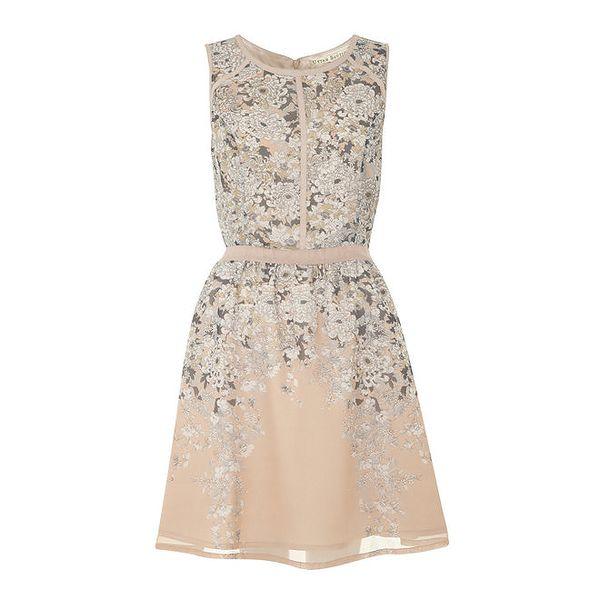 Dámské pudrové šaty s kvítky Uttam Boutique