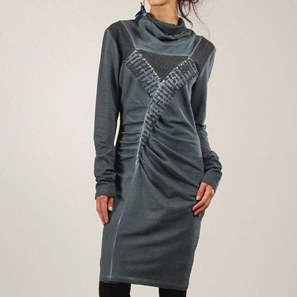 Dámské šedo-modré šaty s dlouhým rukávem Angels Never Die