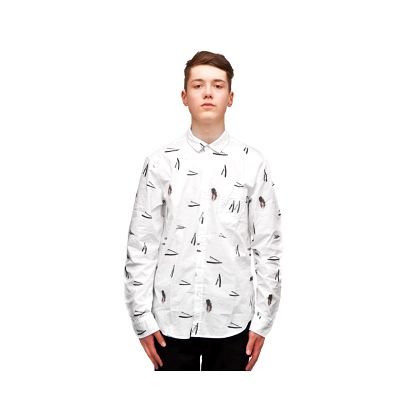 Košile Cuckoo´s Nest Close Shave White bílá / černá XL