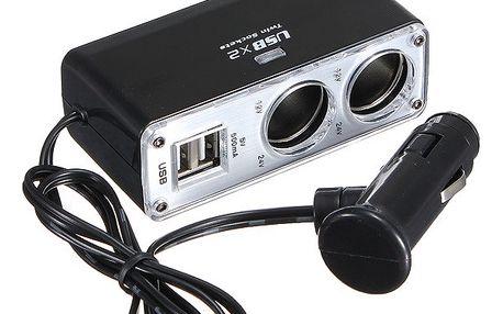 Dvojnásobný rozbočovač autozásuvky s USB