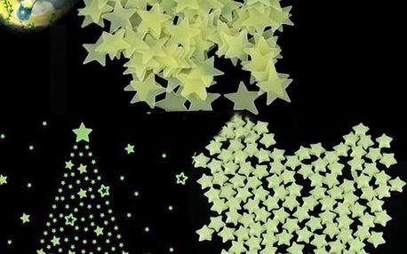 Sada 100 ks hvězdiček svítících ve tmě