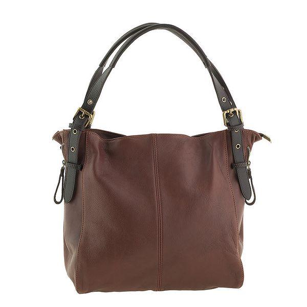 Dámská velká hnědá kabelka z kůže Valentina Italy