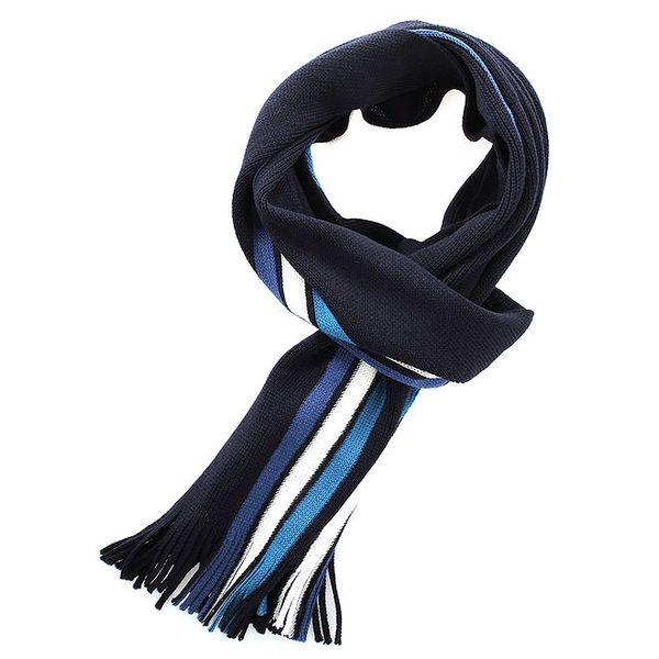 Dámská modrá šála s kotrastními proužky Fraas