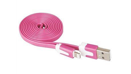 Plochý iPhone USB kabel EMOS LM05-1023 růžový