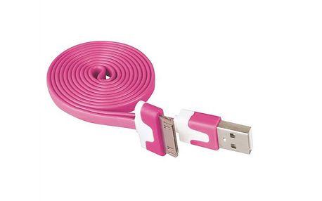 Plochý iPhone USB kabel EMOS LM05-1022 růžový