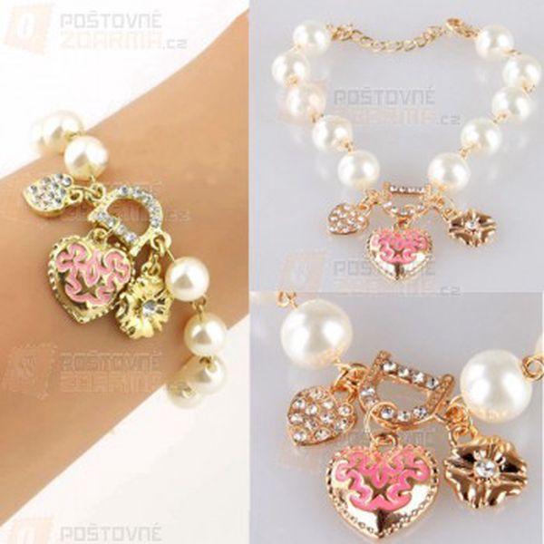 Náramek s umělými perlami a zdobením a poštovné ZDARMA! - 9999914317