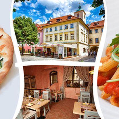 Dvě pizzy či těstoviny v italské restauraci Vabene
