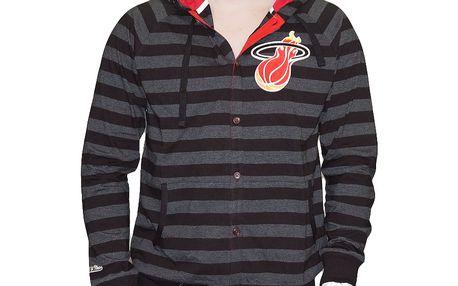 Mikina s kapucí Mitchell & Ness Striped Button Miami Heat