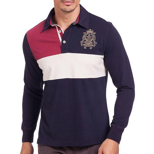 Pánské tmavomodré polo tričko s červeným a bílým polem Galvanni