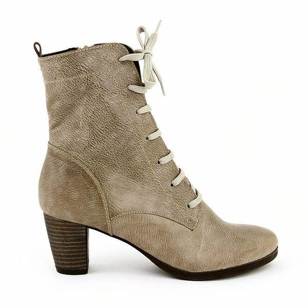 Dámské béžové boty se šněrováním i zipem Eye