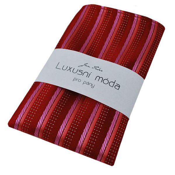 Červeno růžový kapesníček do saka, pruhovaný