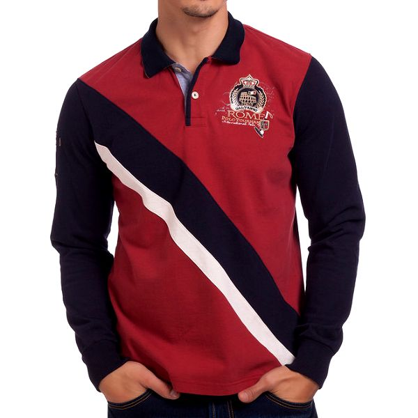 Pánské červeno-tmavomodré polo tričko s dlouhým rukávem Galvanni