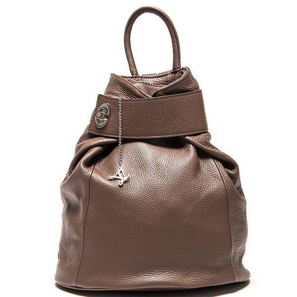 Dámský hnědý kožený batoh Luisa Vannini