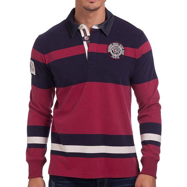 Pánské pruhované červeno-modré polo tričko Galvanni