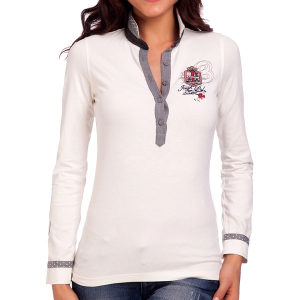 Dámské bílé polo tričko s šedými prvky Galvanni
