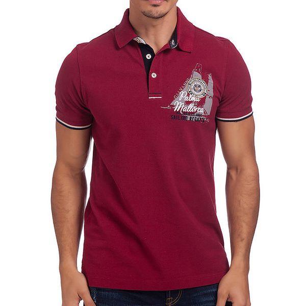 Pánské bordó polo tričko s krátkými rukávy Galvanni