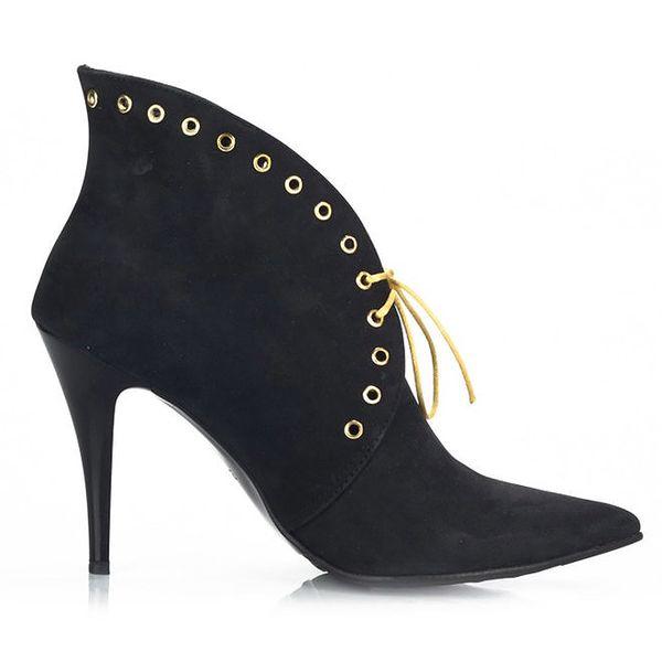 Dámské černé nubukové boty se šněrováním Joana and Paola