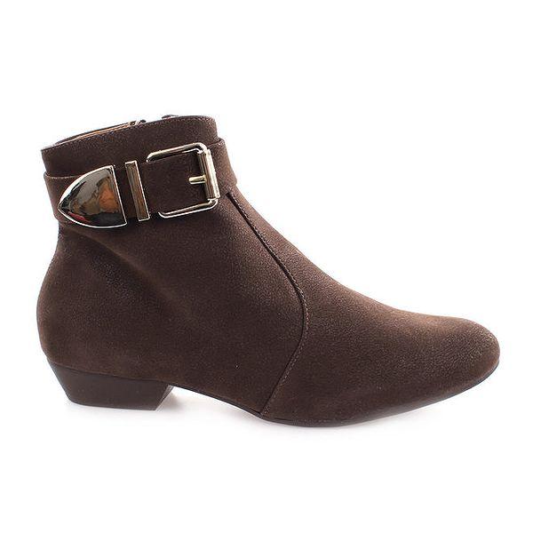Dámské hnědé boty s přezkou u kotníku Vizzano