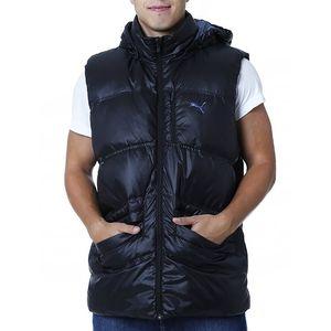 Pánská černá prošívaná vesta s kapucí Puma