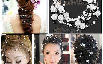 Elegantní síťka do vlasů s bílými perličkami a poštovné ZDARMA! - 9999913693