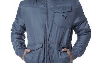 Pánská šedá zimní bunda Puma s kožíškem