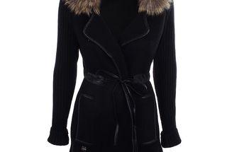 Dámský černý svetrový kabátek s kožíškem Preziosa
