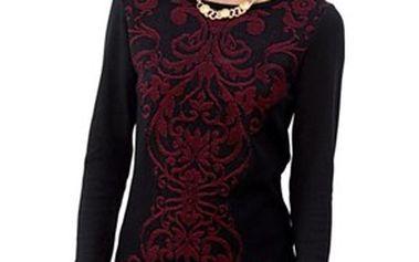 Dlouhý svetr s kulatým výstřihem a dlouhými rukávy
