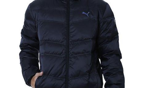 Pánská tmavě modrá prošívaná bunda s černým zipem Puma