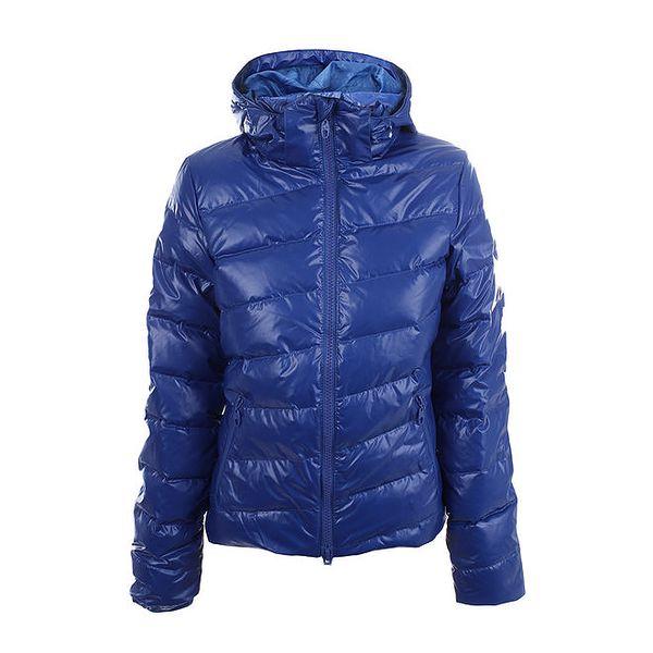 Dámská modrá lesklá bunda s kapucí Authority