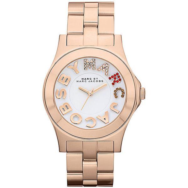 Dámské pozlacené analogové hodinky s barevnými kamínky Marc Jacobs v barvě růžového zlata