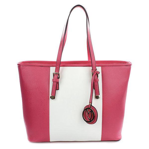 Dámská růžovo-bílá kabelka s přívěskem Gessy