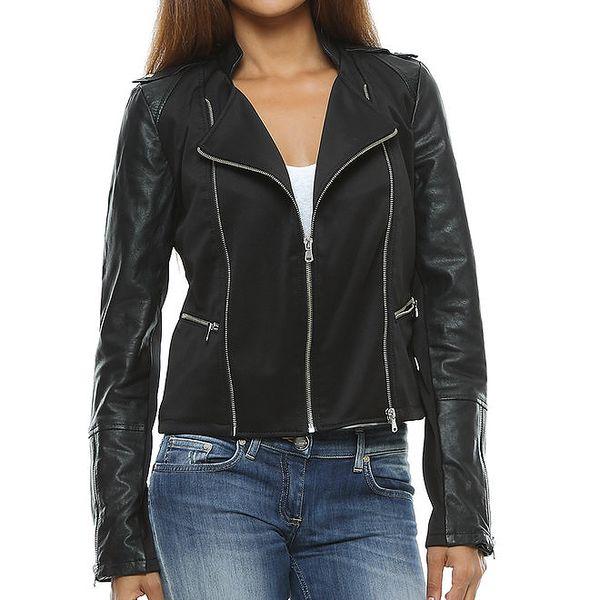 Dámská černá bunda s koženými rukávy Mangotti