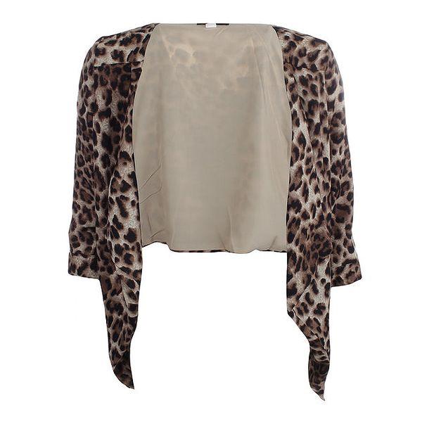 Dámský hnědý kardigan s leopardím vzorem Iska