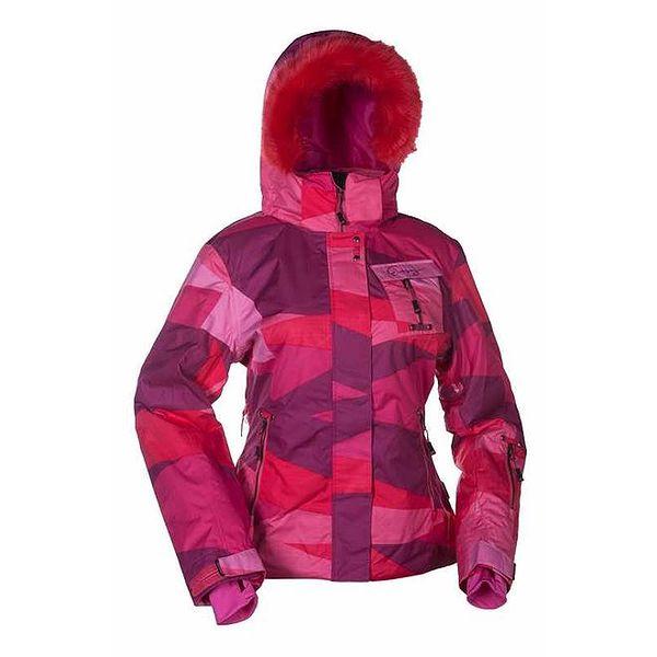 Dámská růžová zimní bunda s kožešinou Envy