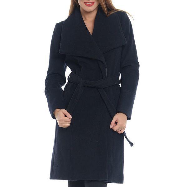 Dámský tmavě modrý kabát s páskem Vera Ravenna