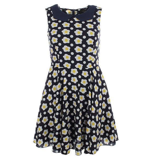 Dámské tmavě modré šaty s límečkem a květy Iska